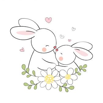 母の日のために美しさの花でウサギのママと赤ちゃんを描きます。