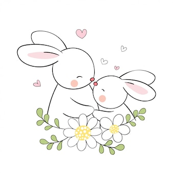 Draw rabbit mom and baby with beauty flower for mother's day.