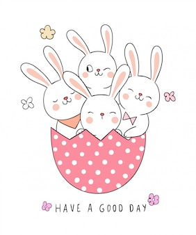 Draw rabbit in pink egg for spring season.