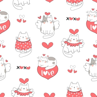 Draw seamless cute cat for valentine day