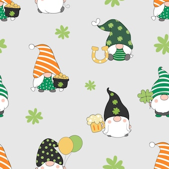 Draw seamless gnome for st patrick day