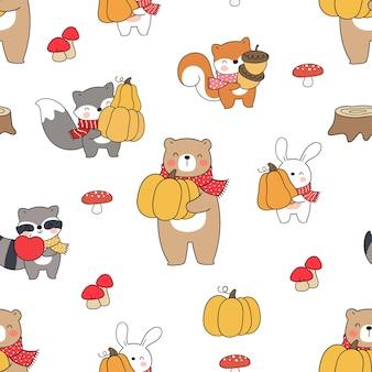 Draw seamless pattern animal woodland for autumn