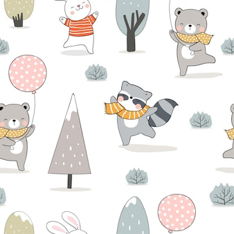 Draw seamless pattern  animals in forest for winter.