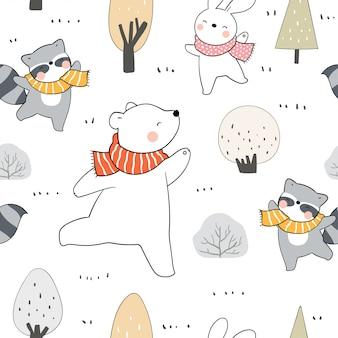 Нарисуйте бесшовные модели животных в лесу на осень.