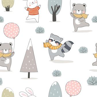 Нарисуйте бесшовные модели животных в лесу на зиму.