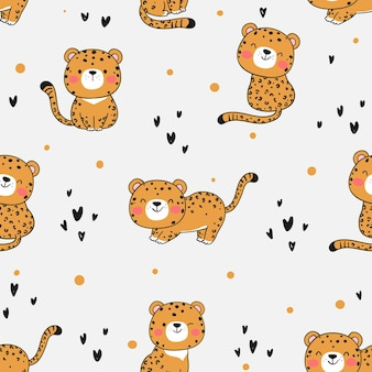 Draw seamless pattern baby tiger printable for kids