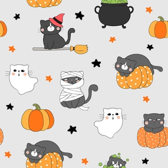 Draw seamless pattern background cute cat for halloween doodle style Premium Vector