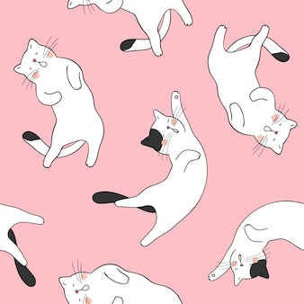 Draw seamless pattern background cute cat on pink