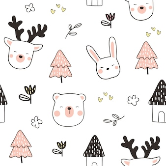 Draw seamless pattern background head animal
