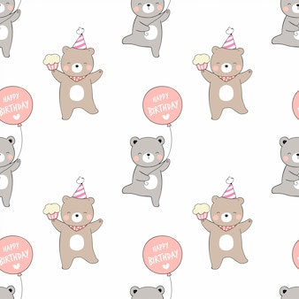 Draw seamless pattern bear with balloon cupcake and party hat.
