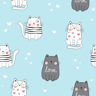 Draw seamless pattern cat on blue color.