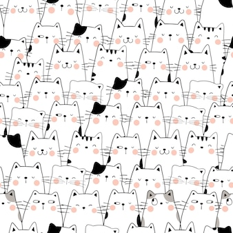 Draw seamless pattern cat doodle cartoon style