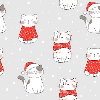 冬のクリスマスにシームレスなパターンの猫を描きます。