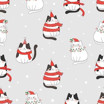 Нарисуйте бесшовные модели кота в снегу на рождество и зиму