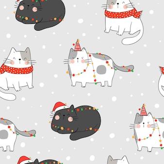 クリスマスのために雪の中でシームレスなパターンの猫を描きます。
