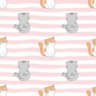 甘い色でシームレスなパターンの猫を描く