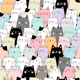 Draw seamless pattern cat pastel color