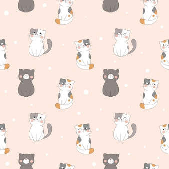 Draw seamless pattern cat on pastel color.