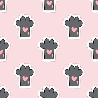 Draw seamless pattern cat paw on pink pastel.