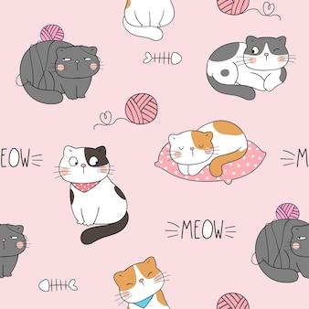 Draw seamless pattern cat on pink pastel