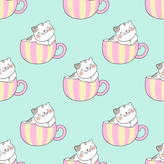 Draw seamless pattern cat sleep in cup of tea.
