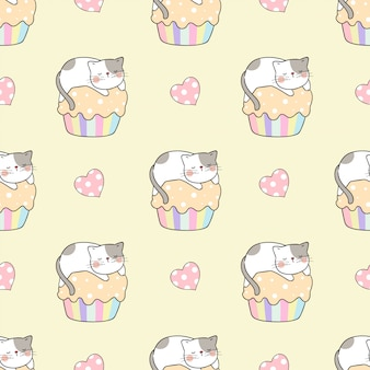 Draw seamless pattern cat sleep on cupcake on yellow.