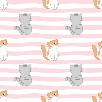Draw seamless pattern cat on sweet color