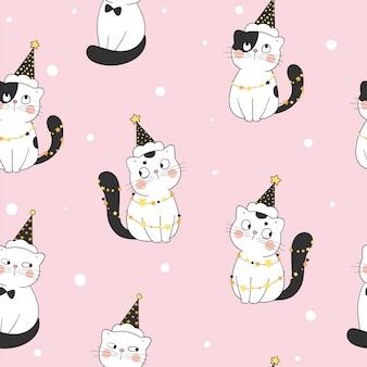 ハロウィーンでシームレスなパターンの猫の摩耗の魔女の帽子を描きます。