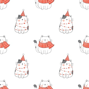 Draw seamless pattern cat for winter christmas