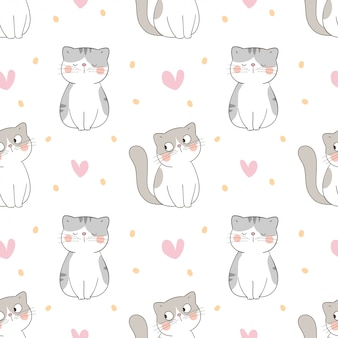 Draw seamless pattern cat with little heart