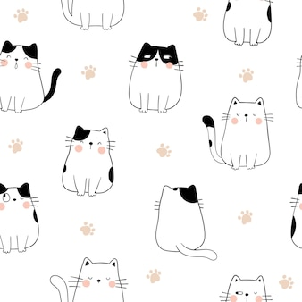 Draw seamless pattern cat with paw for print.