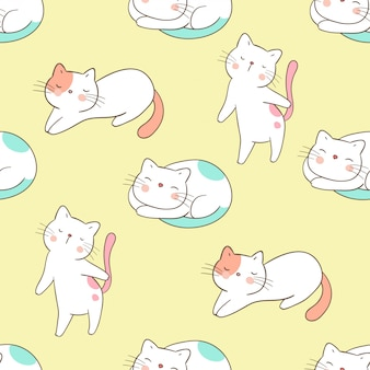 Draw seamless pattern cat on yellow pastel.