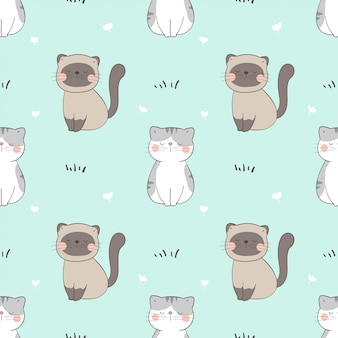 Draw seamless pattern cat
