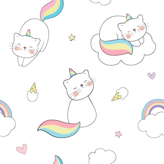 Draw seamless pattern caticorn with clouds and a rainbow.