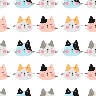 Draw seamless pattern colorful head of cat