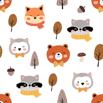 Draw seamless pattern cute animal woodland for autumn