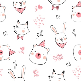 Draw seamless pattern cute animal