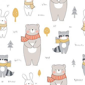 Draw seamless pattern cute animals in forest for autumn.