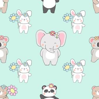 꽃과 원활한 패턴 귀여운 동물 그리기