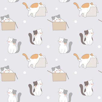 Draw seamless pattern cute cat in a box