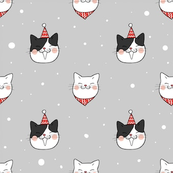 Draw seamless pattern cute cat in snow for winter season