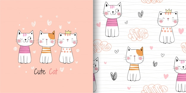 Draw seamless pattern cute cat on white.