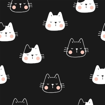 Draw seamless pattern cute cat with paw