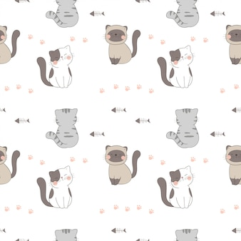 Draw seamless pattern cute cat