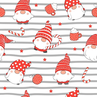 Draw seamless pattern cute gnome for christmas.