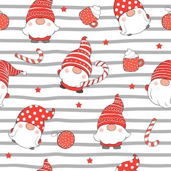 クリスマスにシームレスなパターンのかわいいノームを描きます。