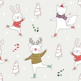 Draw seamless pattern funny animal play in snow for christmas.