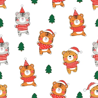 Draw seamless pattern funny baby tiger on white for christmas