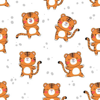 Draw seamless pattern funny baby tiger on white