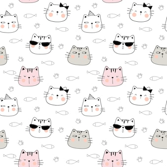 Draw seamless pattern funny cat's head.doodle style.